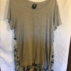 High low gray T-shirt with floral back 1 x
